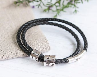 Men's Leather and Silver Story Bracelet Personalised