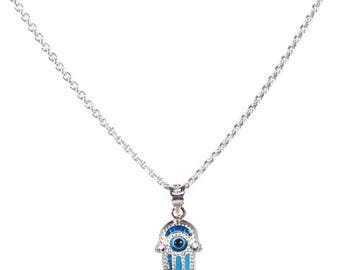 Evil eye hamsa necklace - 925 sterling silver - protection - Greek jewelry