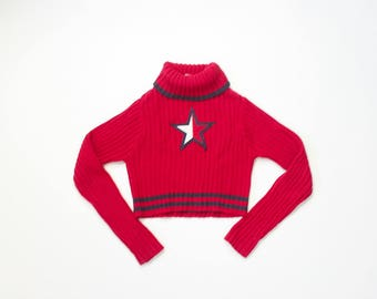 Tommy Hilfiger Crop Top Sweater Cropped Mock Neck American Flag Star Jumper 1990s Knit Top 90s Midriff Sporty Slouchy Shirt Iconic Medium