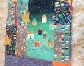 """Baby Boy Quilt """"Under The Stars...""""Story People Fabric.. Lap Quilt Or Wall Hanging  44"""" Wide x 51"""" Long Designer Cottons betrueoriginals"""