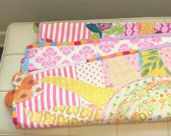 """Baby Girl Quilt"""" Living In A Garden Of Love"""" Baby Girl Wall Hanging, 42.5"""" Wide x 54"""" Long Designer Cottons betrueoriginals"""