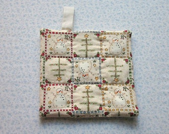 skinny christmas tree and snow man vintage fabric hand quilted insulated potholder hot pad with loop to hang
