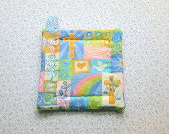 MARKED DOWN was 5.50 NOW 4 christian themed hand quilted insulated potholder with loop to hang