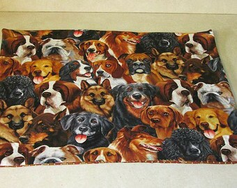 look at all the dogs!!  hand quilted pet food mat or anything you could find it useful for