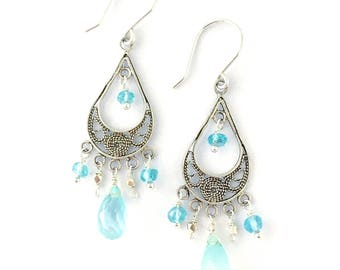 Blue Gemstone Earrings. Chalcedony and Apatite Ocean Blue Sterling Silver Filigree Chandelier Earrings. Gift Under 50