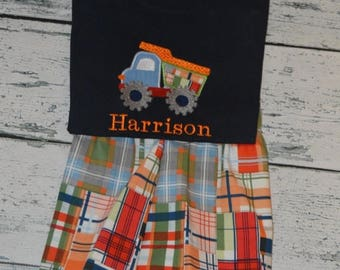 ON SALE Boys Madras Dumptruck Outfit  Shirt and Plaid Shorts Set PERSONALIZED  monogram