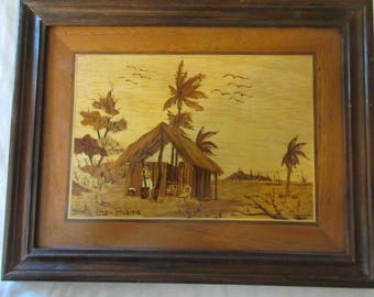 L@@@@@K - Vintage Bolivian Inlay Marketry Beach House Scene - Very Detailed and Striking