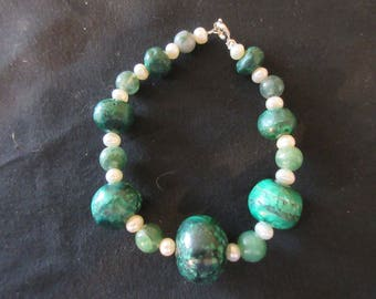 Malachite Adventurine and Cultured Pearls Beaded Bracelet - Wrist or Ankle