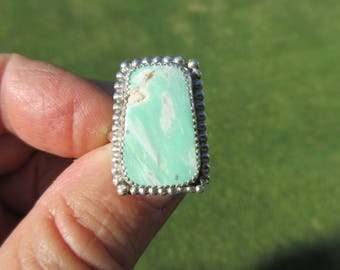 GREEN HORNS GALA - Western Sterling Silver Variscite Ring - Size 9 = Free Resizing