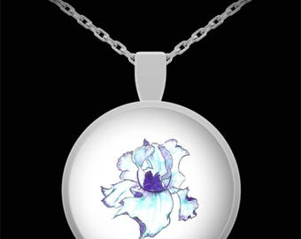 Purple Iris Pendant Necklace - Wearable Art - Floral gift - Flower necklace