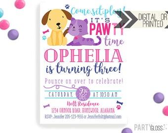 Puppy Kitten Birthday Invitation   Digital or Printed   Puppy Party   Cat Invite    Kitty Invite    Puppy Invitation   Modern Dog Cat Invite