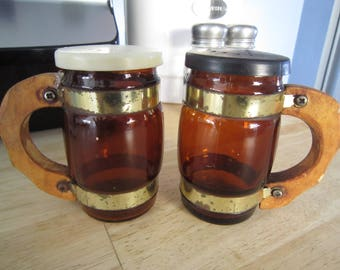 Amber Glass Wood Handled Beer Mugs Salt and Pepper Shakers