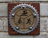 "6""x6"" Recycled Bicycle Chainring Triathlon Plaque"