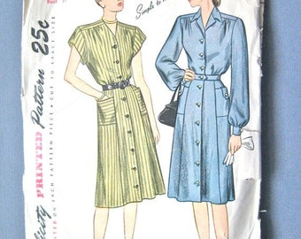 ON SALE 1940s Simplicity 1720 Dress Pattern      Bust 37 inches