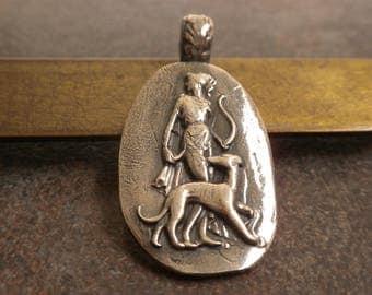 Slightly Imperfect Artemis Jewelry Greek Mythology Diana Roman Goddess Silver Pendant