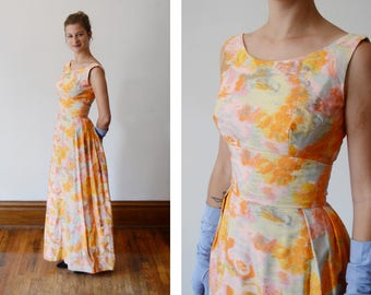 Harry Keiser 1960s Orange and Pink Watercolor Maxi Dress - XS