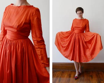As Is Handmade 1950s Red Taffeta Party Dress - S