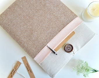 "MacBook Air Case Custom Fit Laptop Case 13 inch MacBook Pro 13.3"", 15.4"" - Herringbone + Pink"