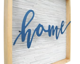 HOME modern -white square wall art - made with recycled magazines, white, home decor, interior design, stripes, blue, clean lines