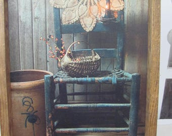 Primitive Wall Decor,Country Wall Decor,Crocks,Old Chair,Basket,Vintage Linen,Handmade Rustic Frame,Susie Boyer,13x17