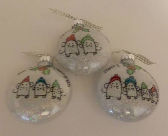 Christmas Family Ornament with Mice in hats  Available with two, three or four family members.  Can be personalized