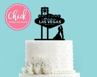 Famous Las Vegas Sign And Military Couple Kissing Acrylic Wedding Cake Topper