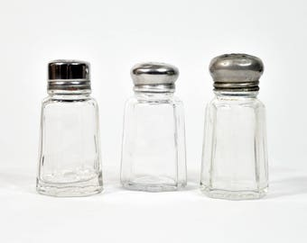Set of Three Salt Shakers * glass shakers * vintage * collectibles * salt & pepper shakers