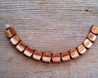 Modernist Copper Bracelet, Vintage Copper Link Bracelet, Modernist Curved Square Link Bracelet, Modernist Copper Jewelry, Copper Bracelet