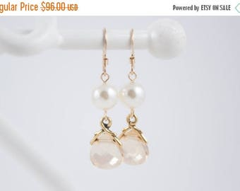 ON SALE Bridesmaid Jewelry Set of 6 Crystal and Pearl Wedding Earrings Savannah Gold