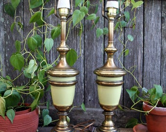 Beautiful Vintage Mid-Century Chartreuse and Brass Lamps