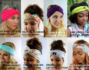 Wide Jersey head Scarf Twist Headband Choose any THREE - Cotton Jersey stretchy Wide Workout Headband Running Headband Head Wrap