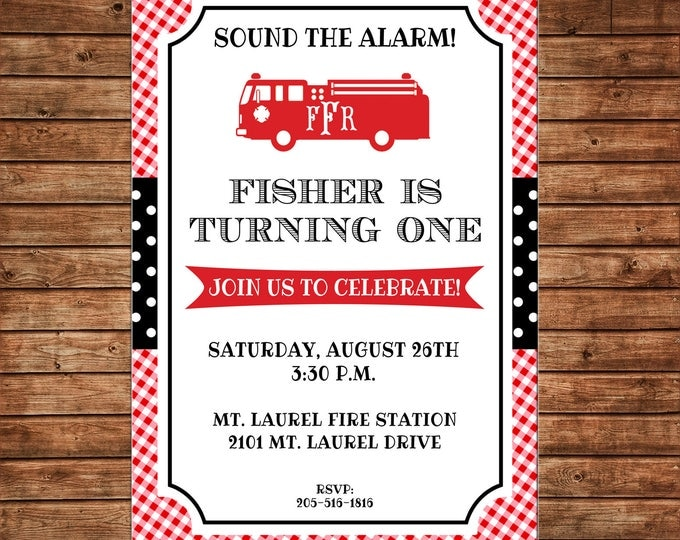 Firetruck Monogram Fishtail Preppy Gingham Birthday Baby Shower Sprinkle Boy Invitation - DIGITAL FILE