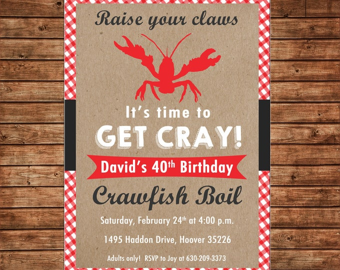 Invitation Crawfish Boil Birthday Party Red Gingham  - Can personalize colors /wording - Printable File or Printed Cards