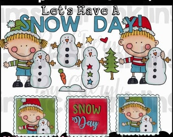 Dumplin Kids Snow Day Clipart Collection- Immediate Download