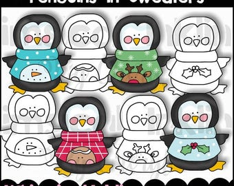 Penguins in Sweaters Clipart Collection with lineart - Immediate Download