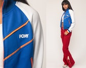 Pony Jacket Retro Track Jacket 90s Streetwear Striped Jacket Zip Up Hipster Raglan Sleeve Blue White 1990s Sport Vintage Extra Small xs