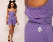 Strapless Romper Woman 80s ONESIE Playsuit Shorts Smocked SWEETHEART Neckline Ideas Purple Cotton 1980s Pin Up Vintage Extra Small xs