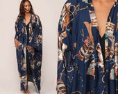 Japanese Kimono Robe Jacket WARRIOR PRINT Bohemian Long Wrap Asian Maxi Vintage Boho Hippie Sleeve Blue Small Medium Extra Large xl