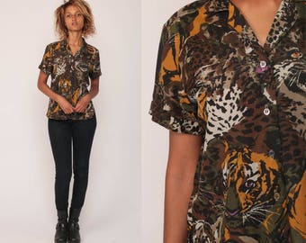 Tiger Shirt Safari Shirt 80s Jungle Animal Blouse Leopard Print Camo Leopard Army Button Up 70s Party Shirt Short Sleeve Small Medium