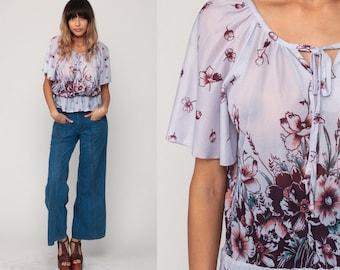 Boho Blouse Sheer Top FLORAL Shirt 70s Bohemian Top Flutter Sleeve Shirt 1970s Lavender Purple Festival Seventies Keyhole Medium Large