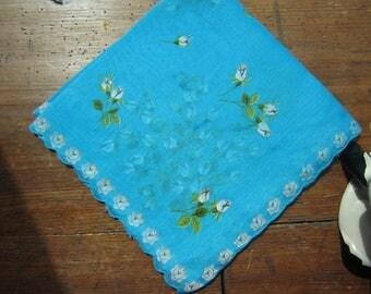 Turquoise Scalloped Hanky/Handkerchief