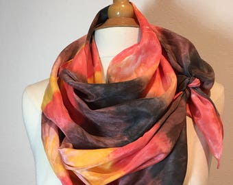 Pumpkin Spice and everything nice!  Dusty oranges, brown and sunflower yellow abstract stripe silk scarf, Shibori scarf, tie dye scarf