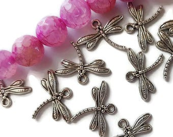 Dragonfly Charms Antique Silver Color  (10)