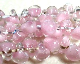 Unicorne Teardrop, Boro Glass, Color: 21848, PetalPink, Strand of 10 beads