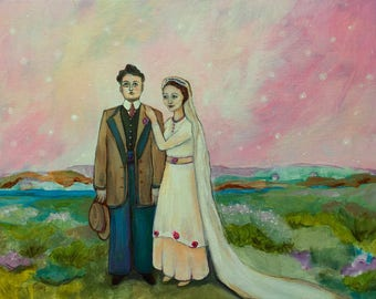 That Day the Stars Twinkled in a Pink Sky, original painting by Alisa Proctor
