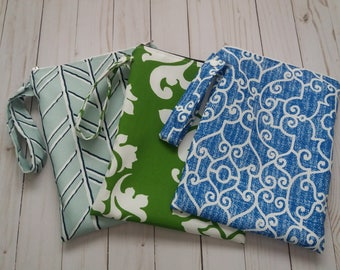 Wet Bag with seam sealed waterproof lining for cloth diapers and swimsuits - you pick the size and print and monogramming available