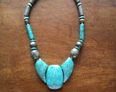 Vintage Chunky Turquoise & Brown Ceramic Bead Pendant Necklace
