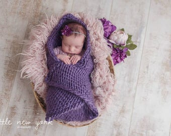 Blanket Hat Set Newborn Photo Prop Mohair Baby Gift Girl Cap Accent Going Home Beanie Infant Hand Knit Twin Set Coming Layer Outfit Organic