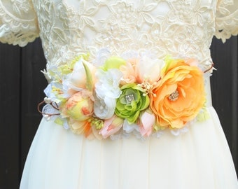 Pastel Orange Green Peach White Bridal Flower Satin Sash, Shabby Chic Vintage Weddings, Summer Weddings Belt, Maternity Belt, Ranunculus