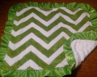 Plush Soft Jade Green White Chevron and White Minky with White Satin Ruffles Baby Security Blanket Lovie Lovey 16 x 16